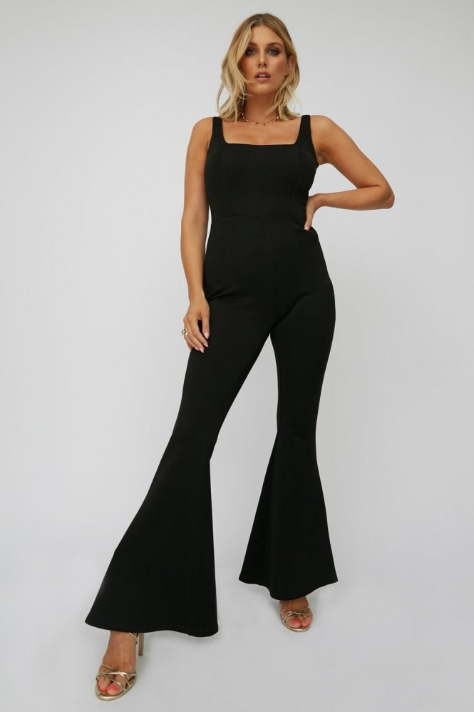 Little Mistress x Ashley James Black Square-Neck Flared Jumpsuit