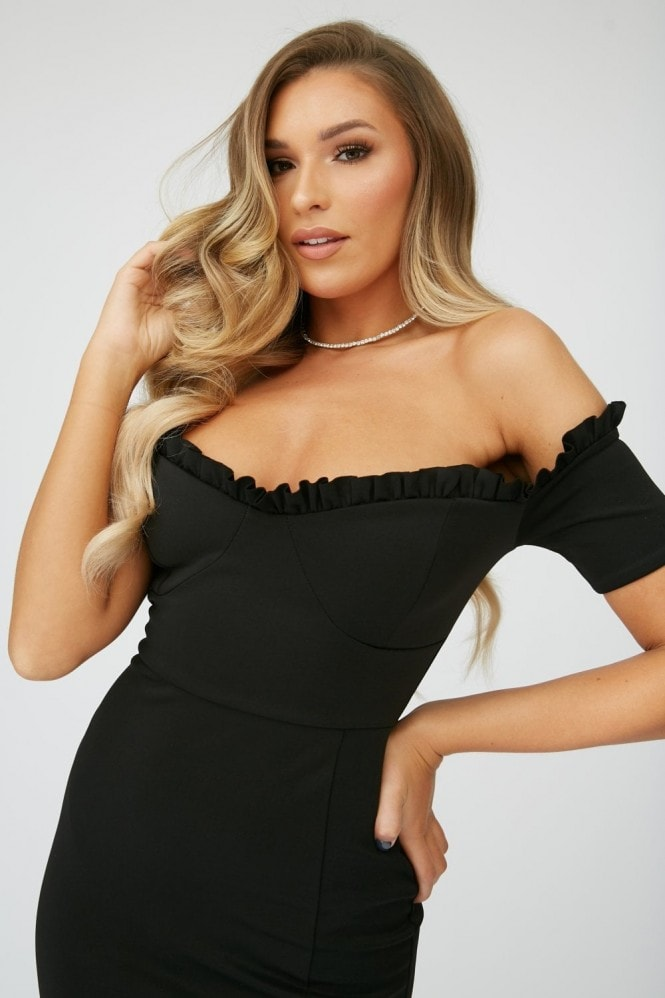 Little Mistress x Zara McDermott Black Frill Bardot Midi Dress