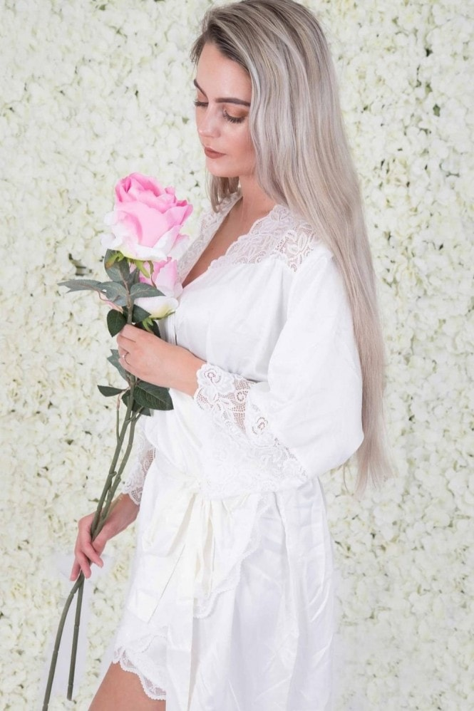 The Little Lovebird Olivia White Lace Robe