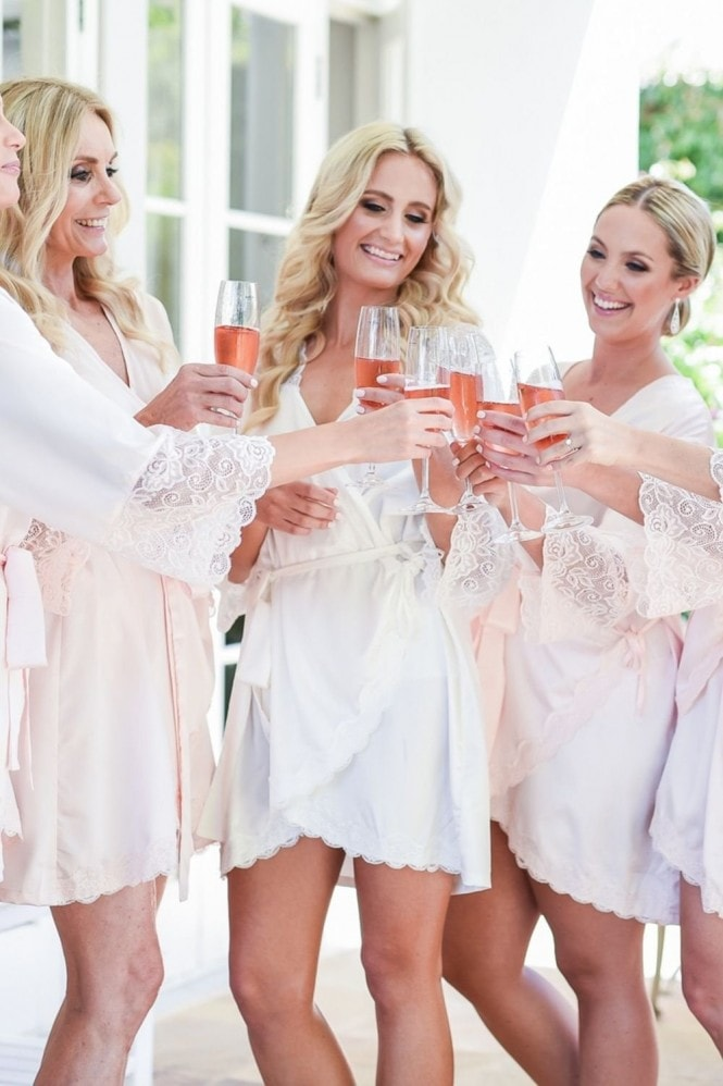The Little Lovebird Olivia Blush Long Lace Robe