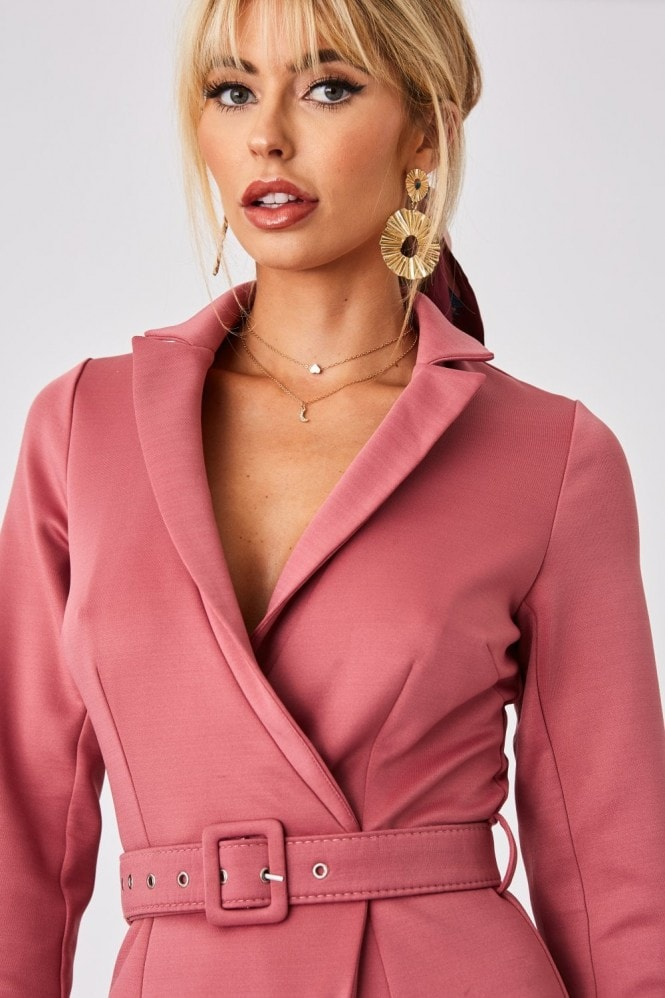 Little Mistress x Amy Neville Rose Pink Tuxedo Self-Belt Mini Dress