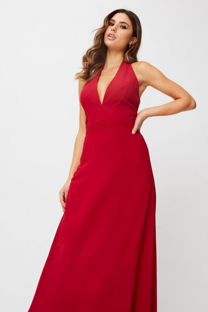 Little Mistress Blaire Scarlet Halterneck Maxi Dress