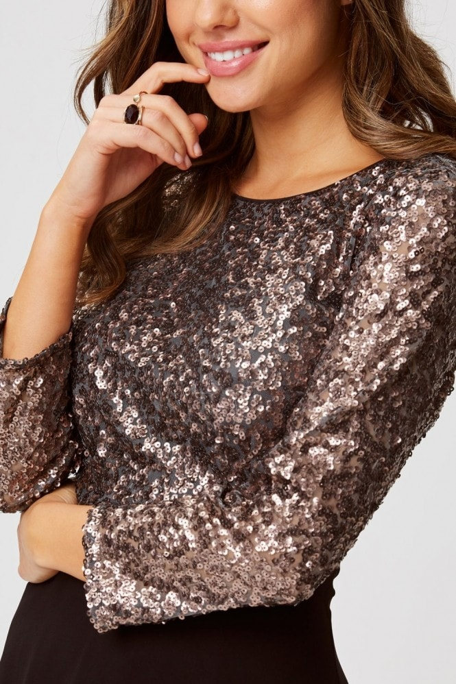 Little Mistress Tibi Copper Sequin Open-Back Midi Dress