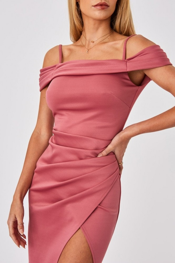 Little Mistress x Amy Neville Rose Pink Bardot Midi Dress