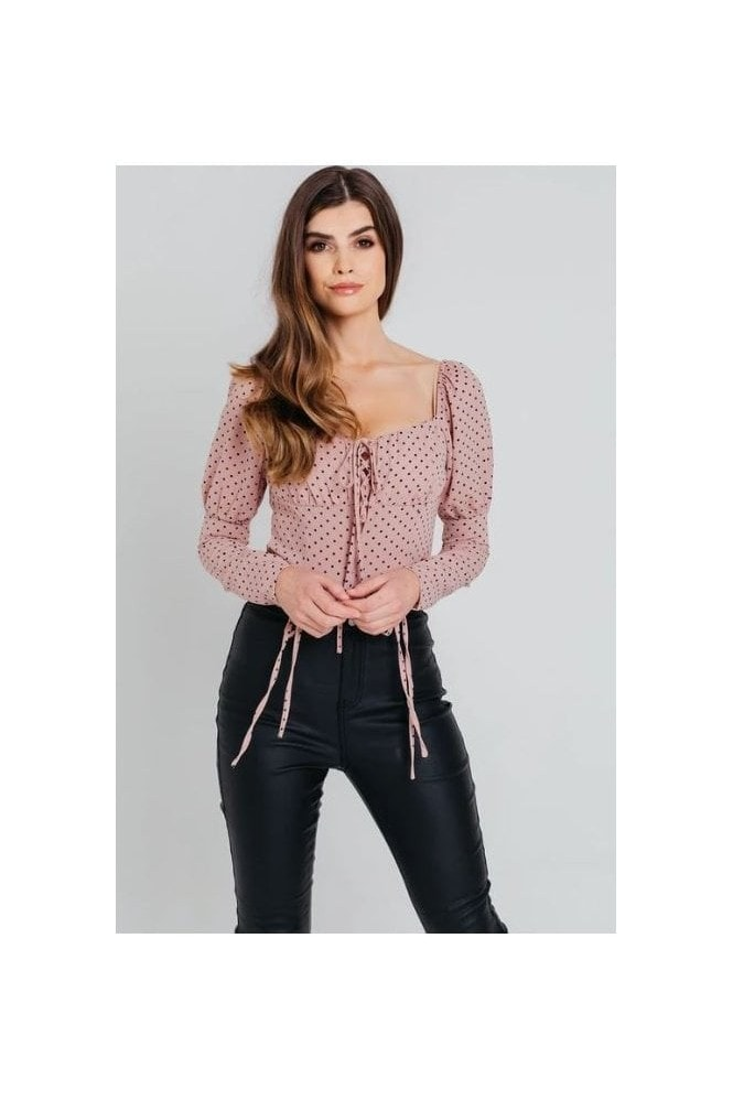 Pretty Darling Pink Polka Dot Square Neck Lace Up Bodysuit