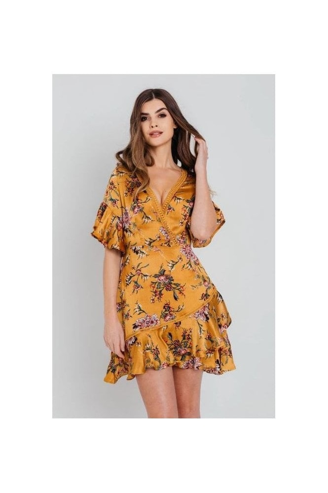 Pretty Darling Mustard Satin Wrap Floral Ruffle Mini Dress