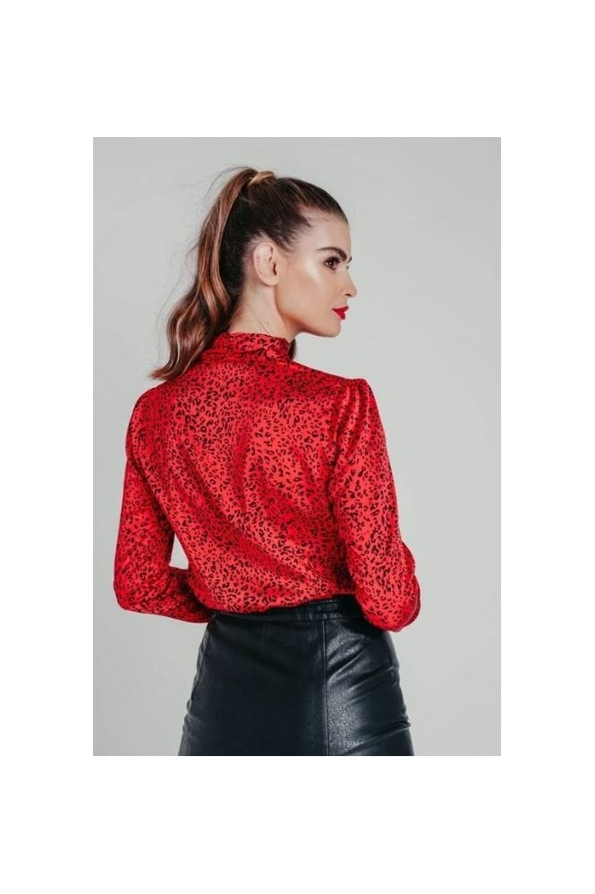 Pretty Darling Red Satin Cowl Neck Animal Print Blouse