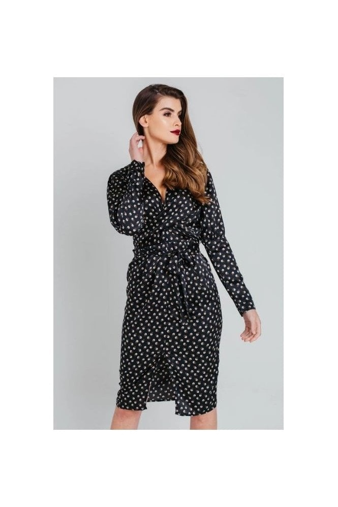 Pretty Darling Black Ditsy Floral Wrap Midi Shirt Dress