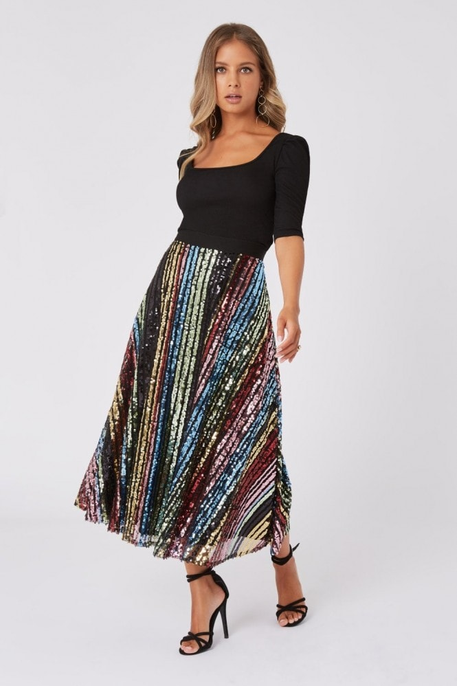 Little Mistress Trixie Rainbow Sequin Midi Skirt