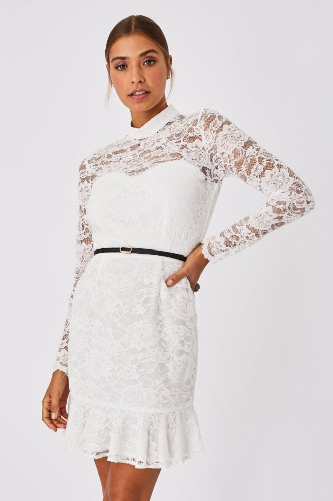 Paper Dolls Carman White Lace Belted Peplum Mini Dress