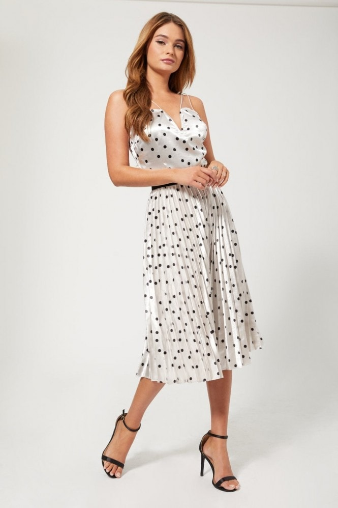 Girls on Film Prospect Silver Polka-Dot Pleated Midi Skirt