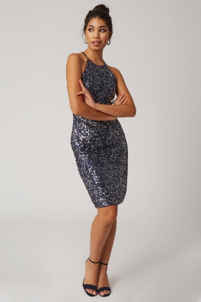 Little Mistress Beckery Navy Sequin Bodycon Dress