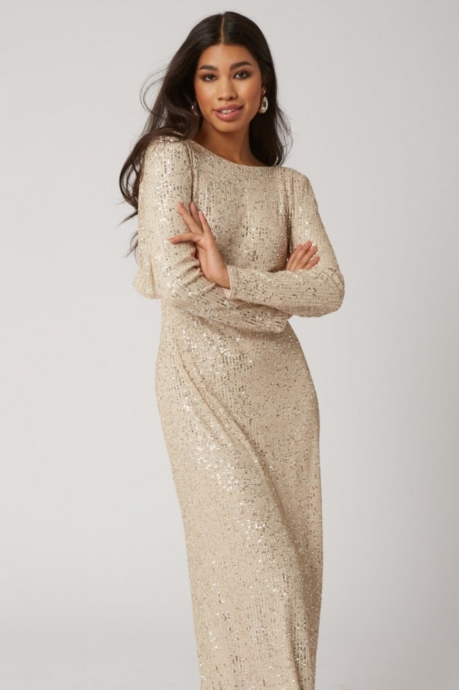 Little Mistress Zedel Champagne Sequin Maxi Dress