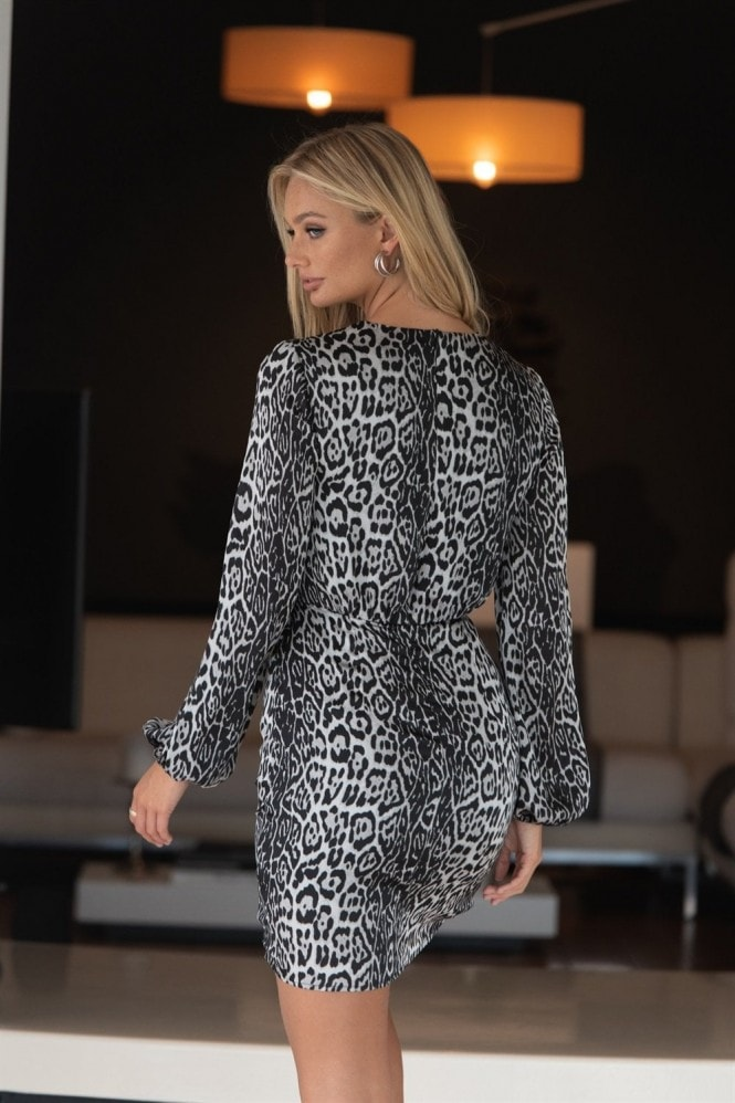 LIENA Grey Leopard Wrap Skirt Mini Dress