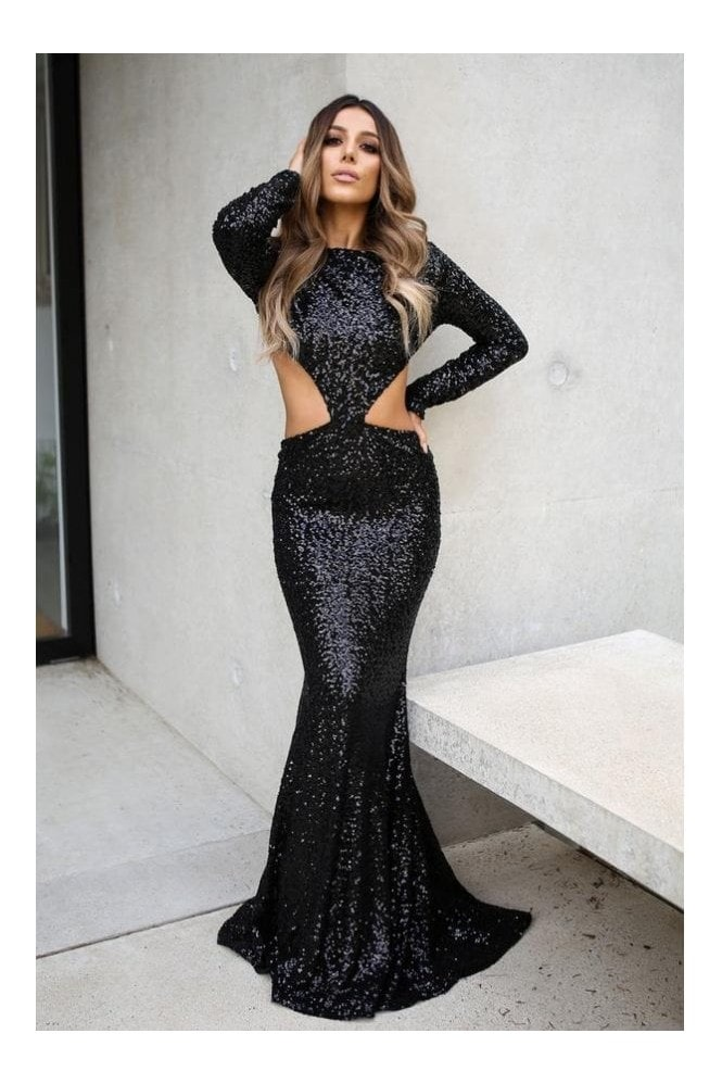 Naked Dresses Aurora Sequin Occasion Evening Maxi Dress Gown in Black