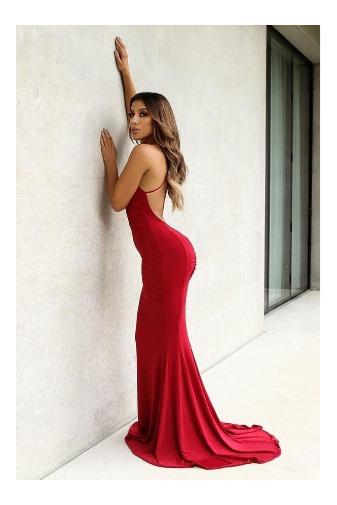 Naked Dresses Bella Scarlet Backless Evening Maxi Gown