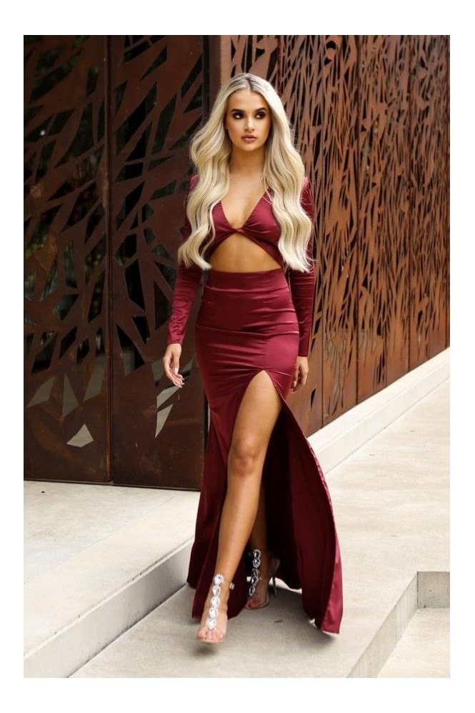 Naked Dresses GIGI Red Satin Cut Out Maxi Evening Gown