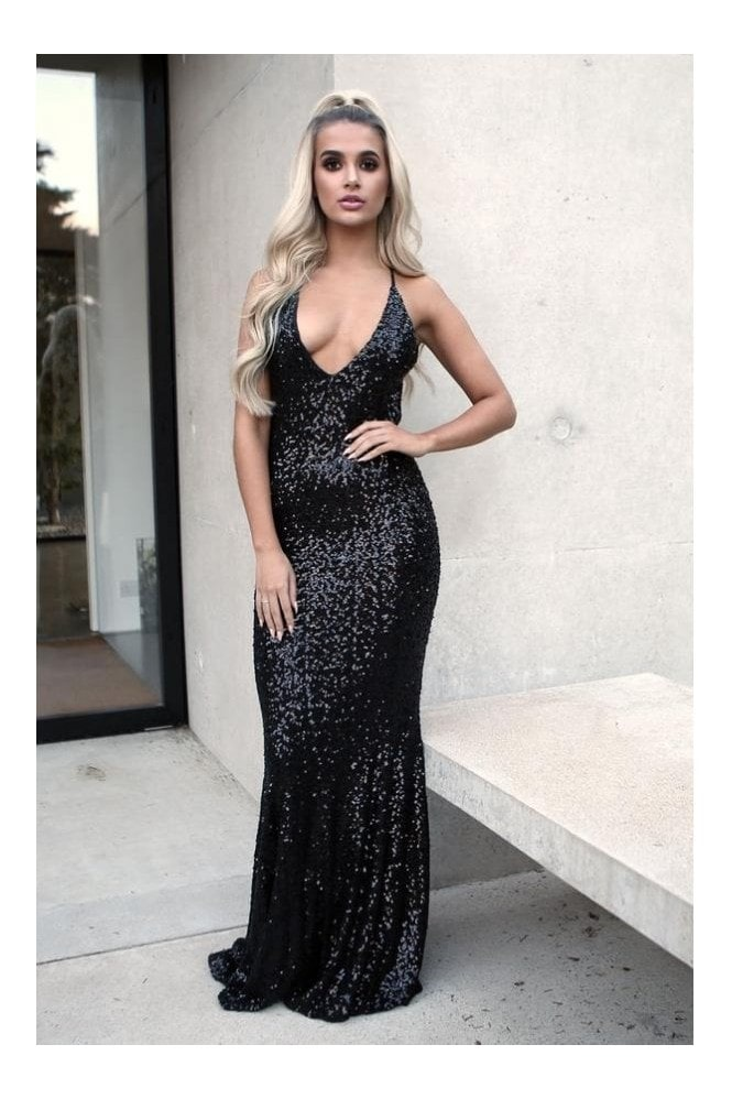Naked Dresses Aria Sequin Black Backless Evening Maxi Gown