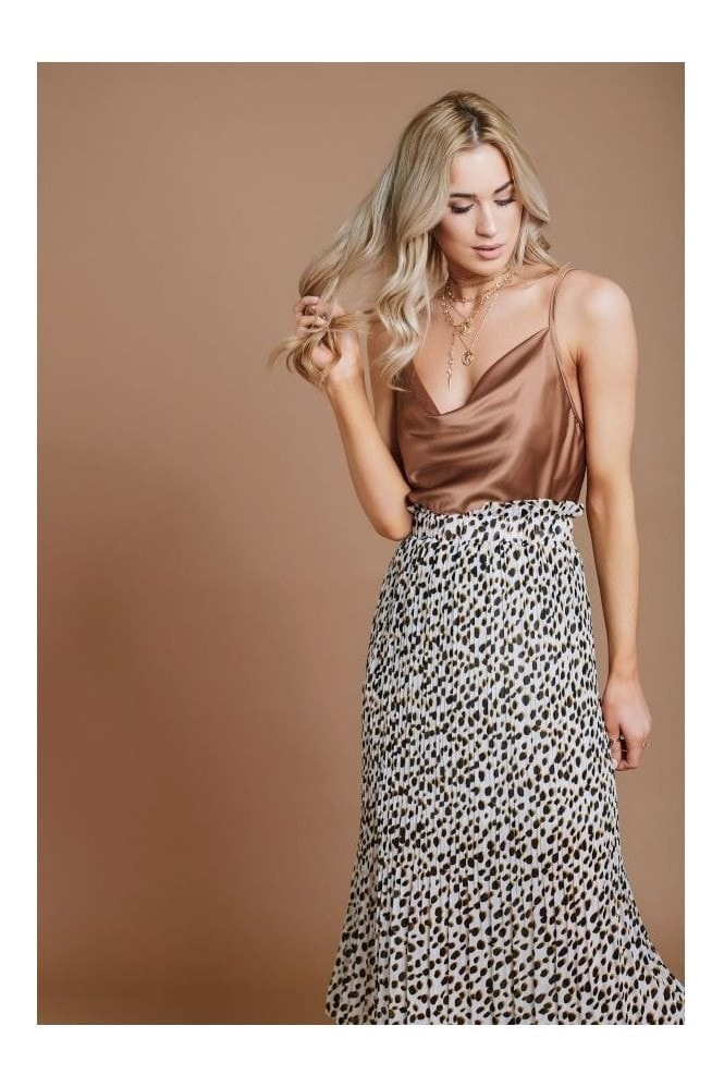 Haus Of Deck White Leopard Print Pleated Skirt