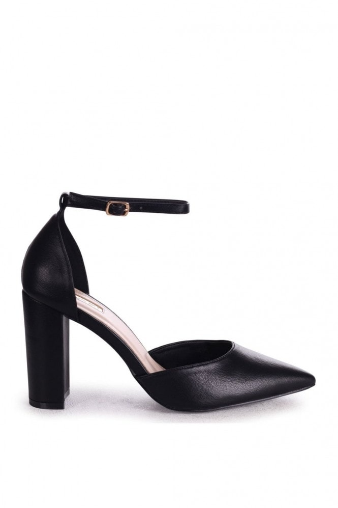 Linzi MARLIE - Black Nappa Court Shoe With Ankle Strap & Block Heel