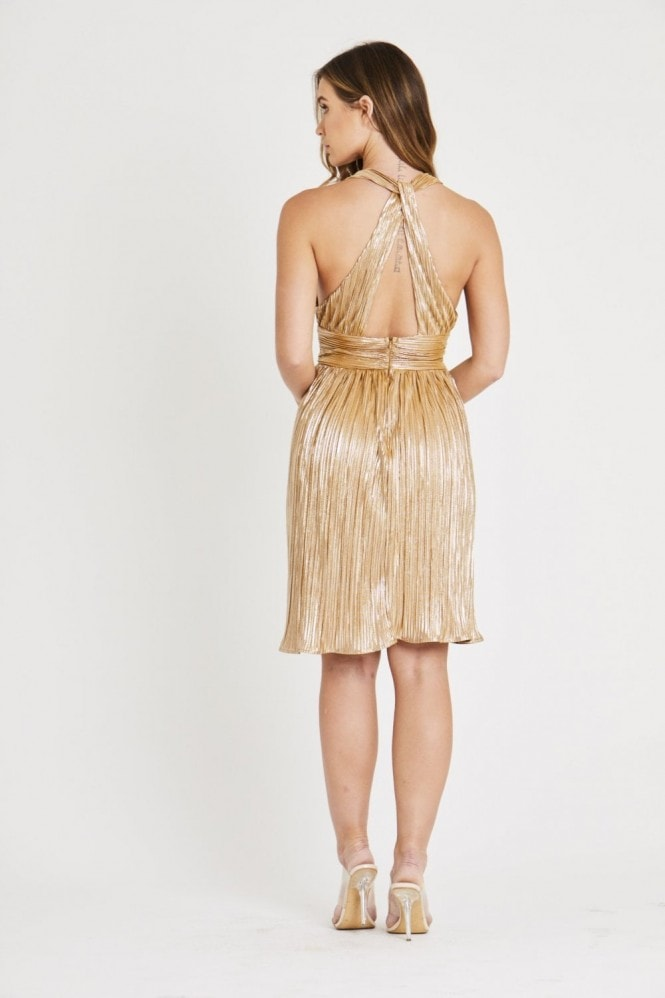 Skirt & Stiletto Gold Metallic Dress