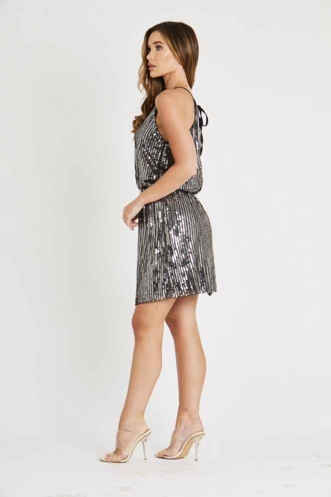 Skirt & Stiletto Black and Silver Beaded Dress