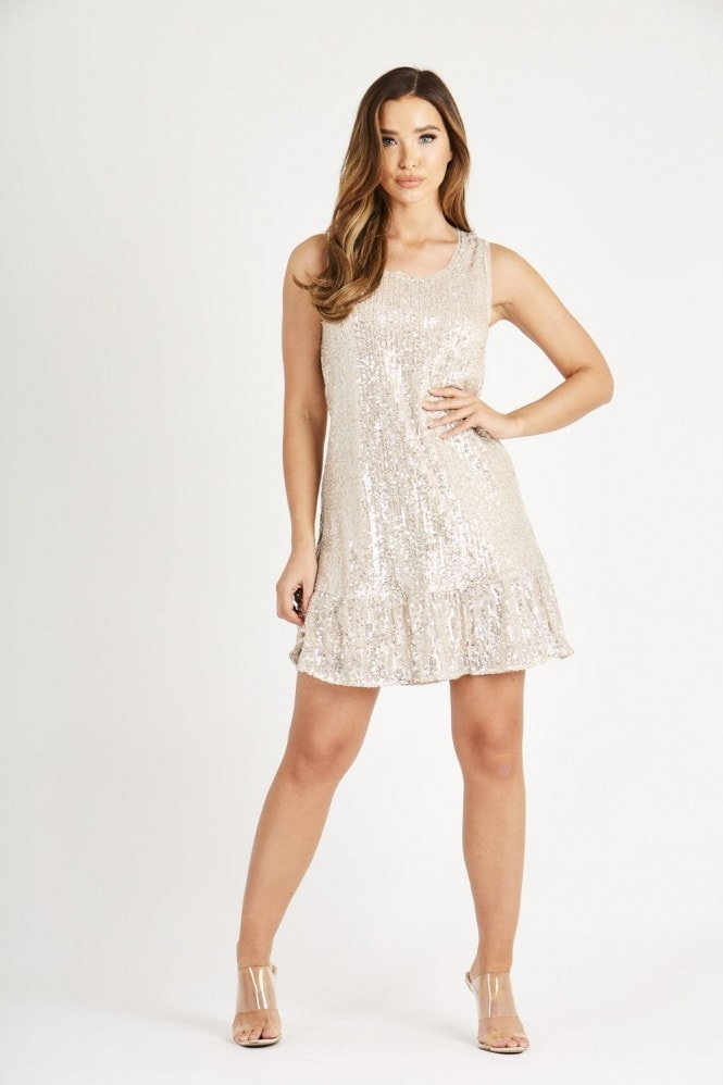 Skirt & Stiletto Champagne Sequin Dress