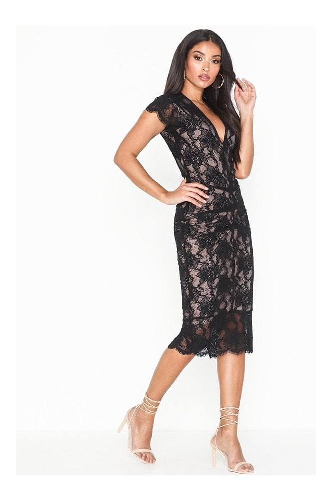 Honor Gold Arianna Black Lace with Nude Underline Midi Dress With Cap Sleeves