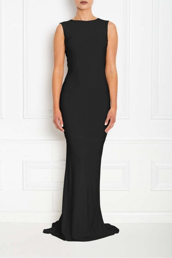 Honor Gold Bella Black Backless Sleeveless Maxi Dress
