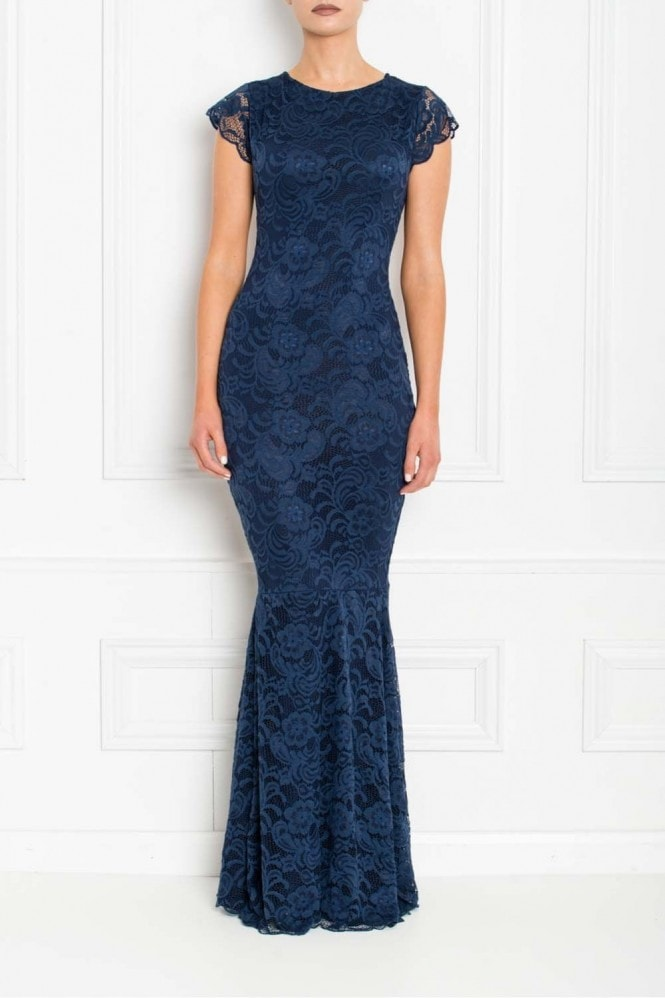 Honor Gold Faye Navy Backless Lace Fishtail Maxi Dress With Cap Sleeves