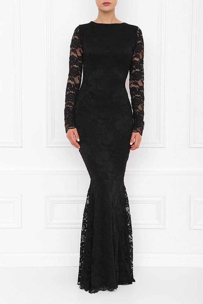 Honor Gold Faye Black Backless Lace Fishtail Maxi Dress With Long Sleeves