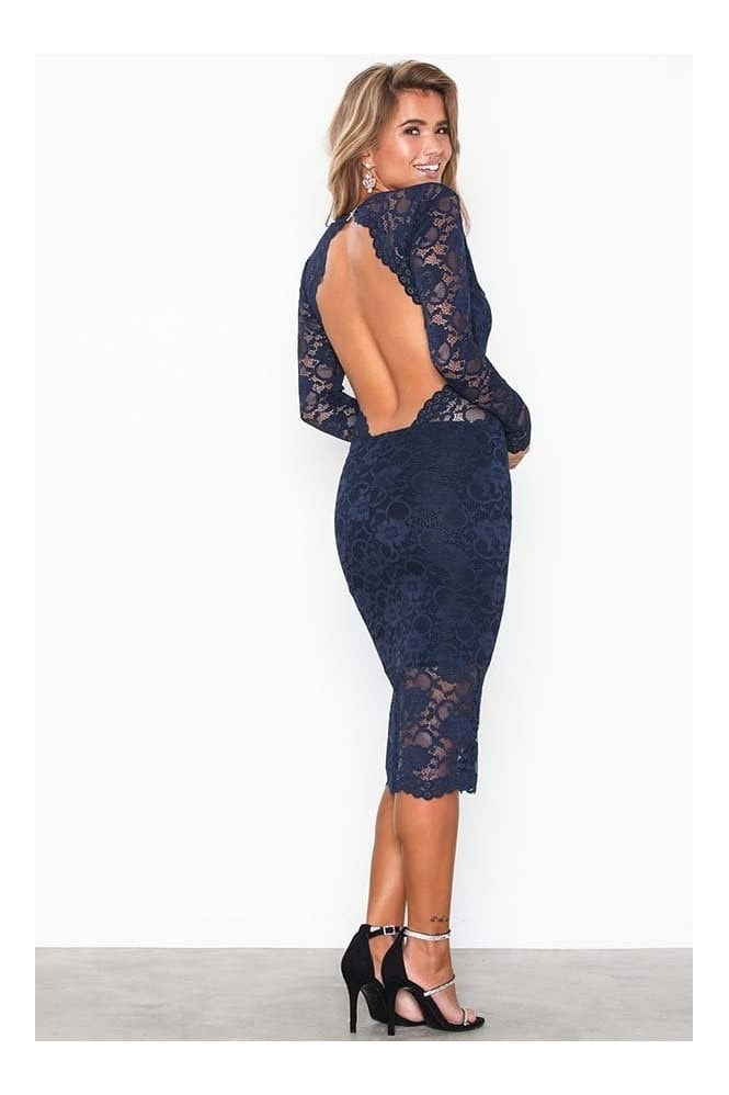 Honor Gold Vanessa Navy Backless Lace Midi Dress