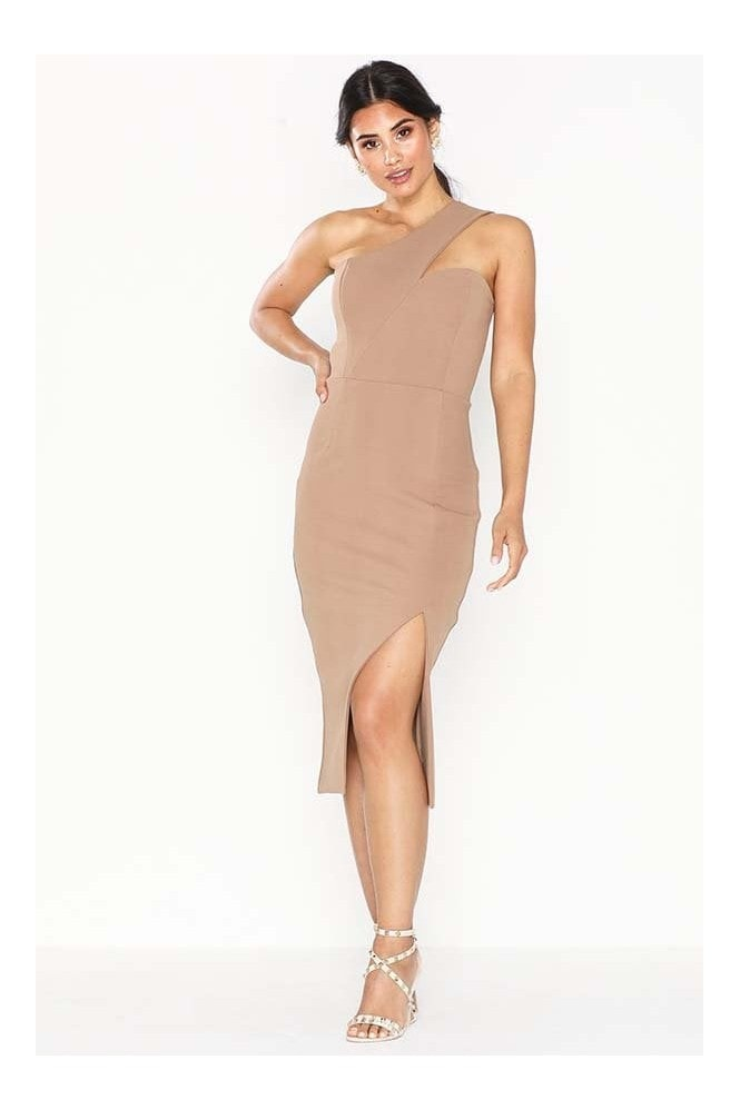 Honor Gold Melissa Mocha One Shoulder Midi Dress With Front Split