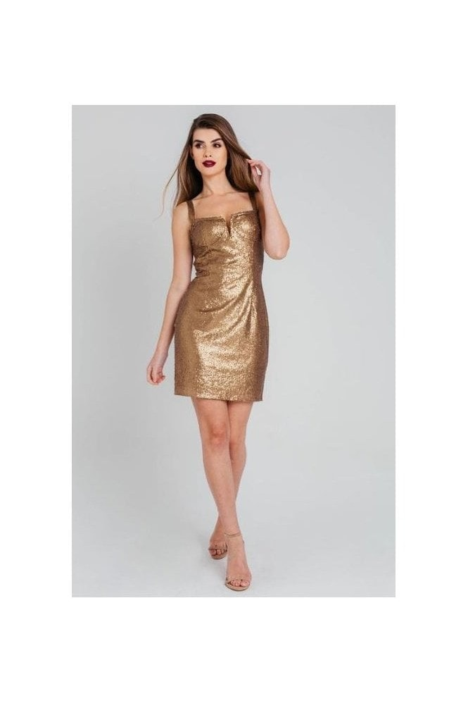 Pretty Darling Gold Sequin Cup Detail Strappy Bodycon Dress