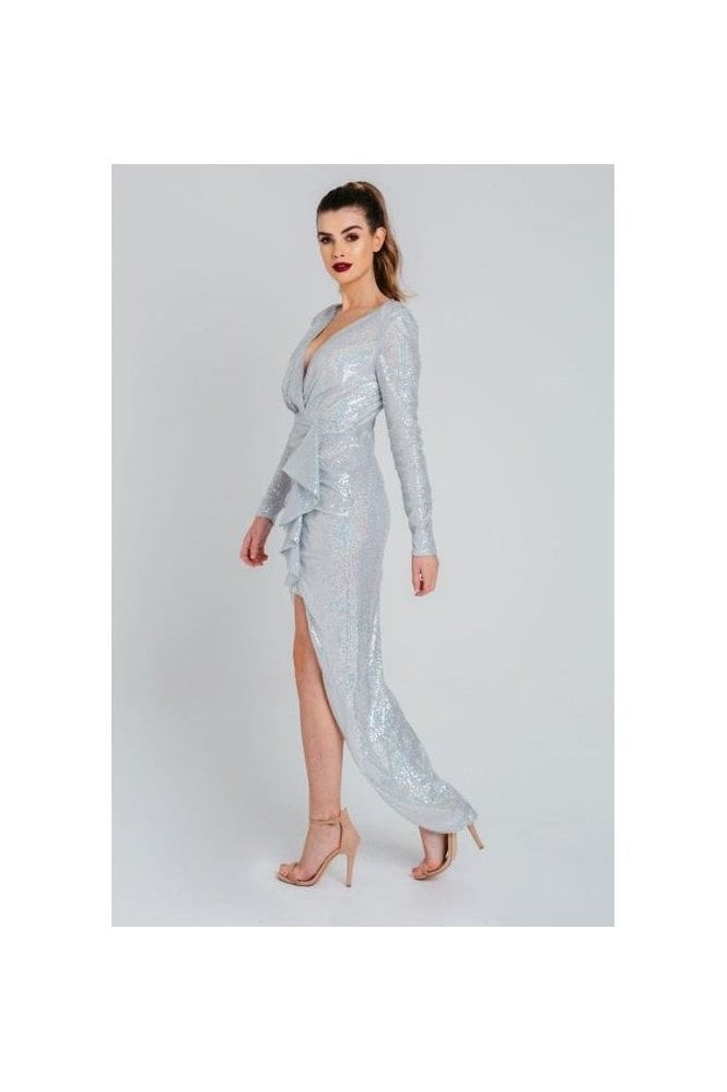 Pretty Darling Ice White Sequin Wrap Peak Shoulder Maxi Dress