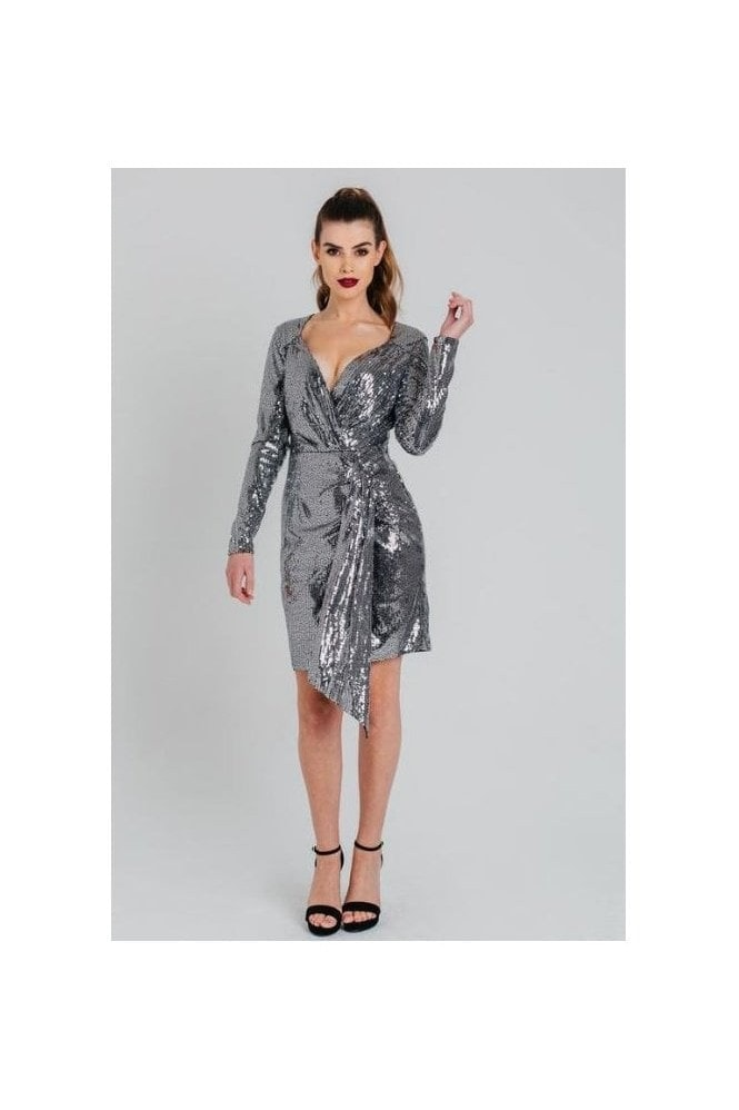 Pretty Darling Silver Sequins Wrap Long Sleeved Dress