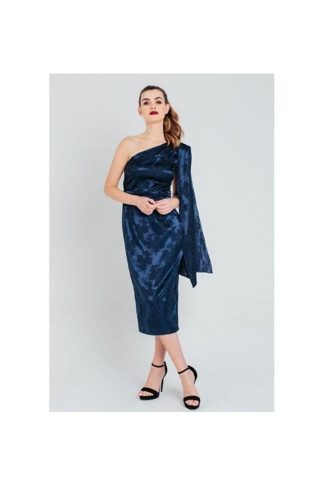 Pretty Darling Navy Cape Sleeve Jacquard Satin Midi Dress