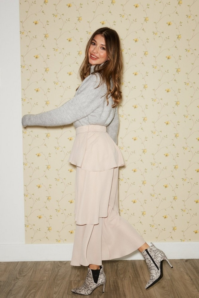 Girls on Film Phoenix Champagne Tiered Culotte Trousers
