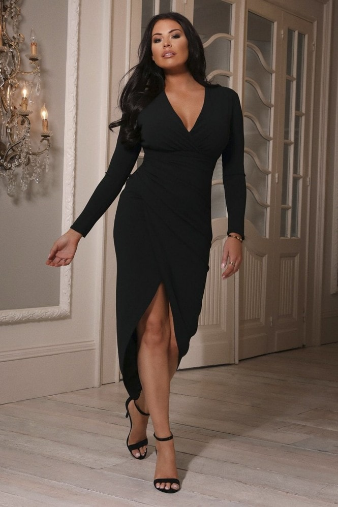 Sistaglam LOVES JESSICA WRIGHT AMBEY BLACK DEEP V NECK MIDI WRAP DRESS