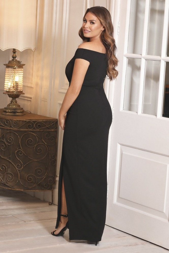 Sistaglam LOVES JESSICA WRIGHT PENNEY BLACK OFF THE SHOULDER MAXI DRESS