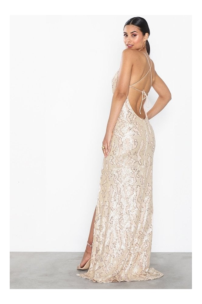 Honor Gold Gia Pearl Sequin Backless Maxi Dress With Split