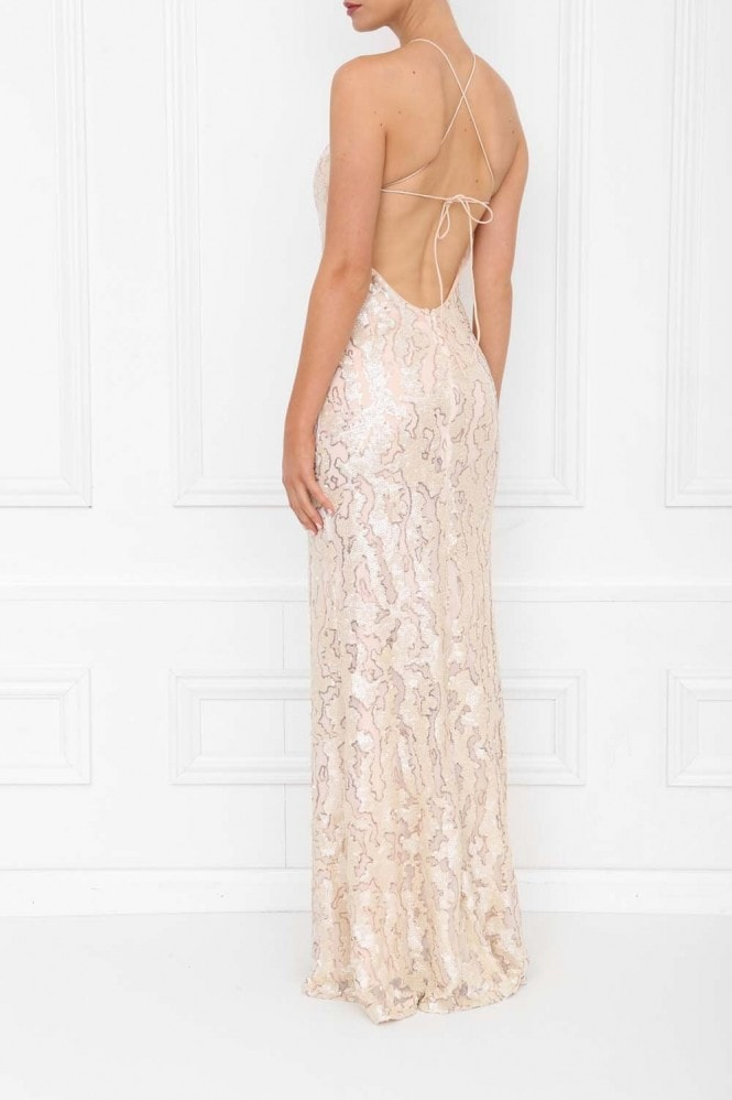 Honor Gold Harley Pearl Sequin Backless Maxi Dress With Split