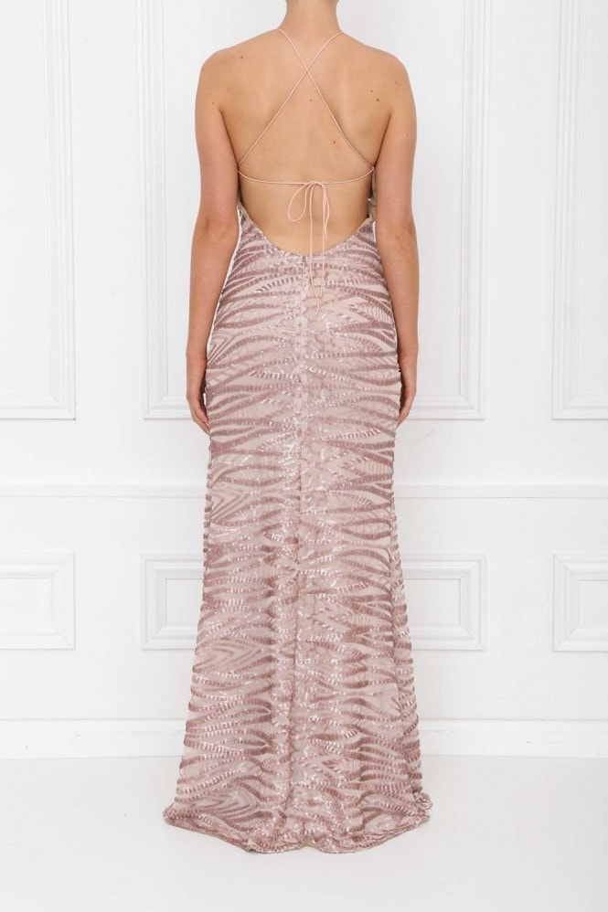 Honor Gold Gia Rose Pink Sequin Backless Maxi Dress With Split