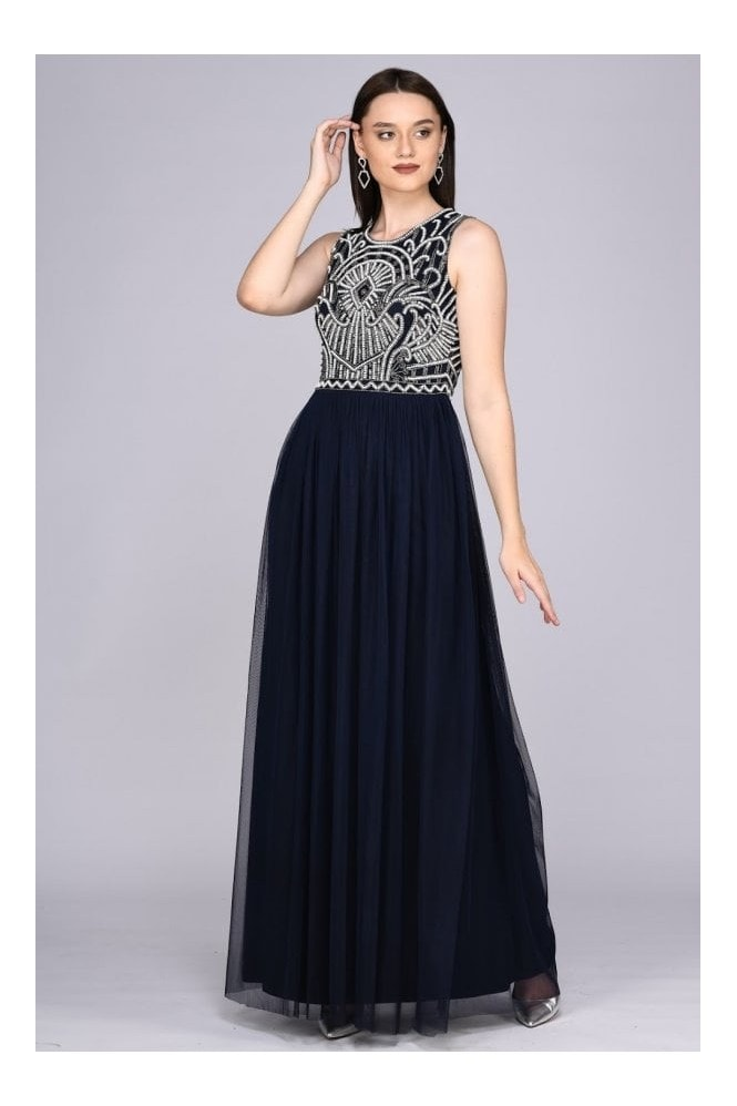 Gatsbylady London Angie Drop Waist Maxi Dress in Navy Blue