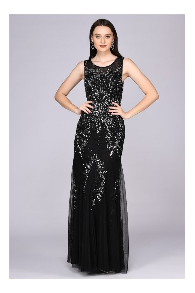 Gatsbylady London Anna Illusion Neckline Maxi Dress in Black