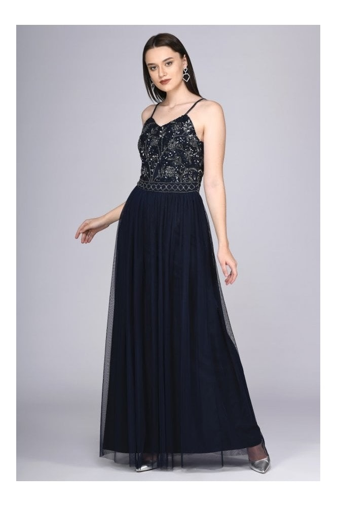 Gatsbylady London Lilly Drop Waist Maxi Dress in Navy