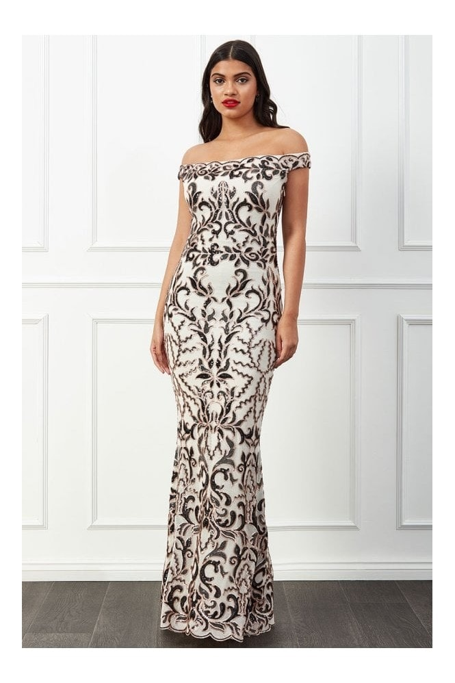 Goddiva Scalloped Bardot Sequin Maxi Dress - Cream