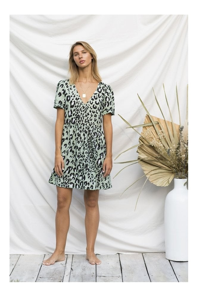 Island Threads Animal Print Mini Smock Dress in Mint Green