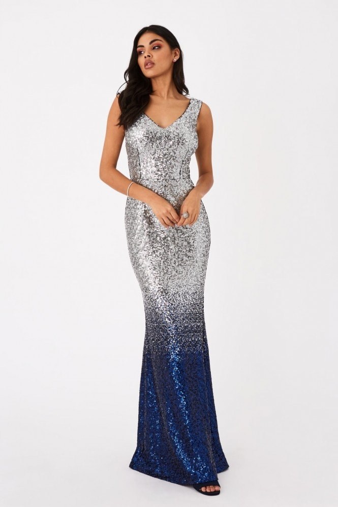 Little Mistress Caprice Silver And Blue Sequin Ombre Maxi Dress
