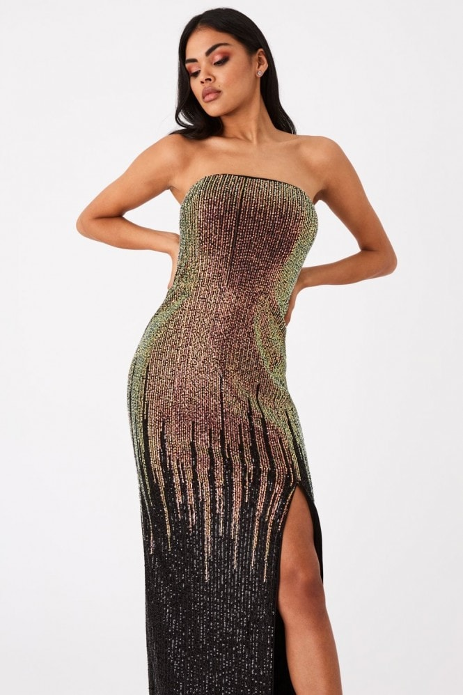 Little Mistress Roka Gold Sequin Ombre Bandeau Maxi Dress